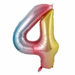 Stor Sifferballong Flerfärgad Regnbåge Födelsedag Fest 102cm 4 flerfärgad