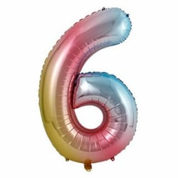 Stor Sifferballong Flerfärgad Regnbåge Födelsedag Fest 102cm 6 flerfärgad