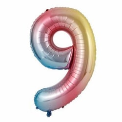 Stor Sifferballong Flerfärgad Regnbåge Födelsedag Fest 102cm 9 flerfärgad