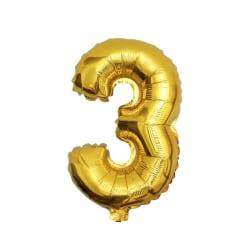 Stor Sifferballong i Guld för Födelsedag Fest 102cm - 3 guld