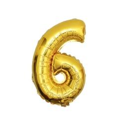 Stor Sifferballong i Guld för Födelsedag Fest 102cm - 6 guld