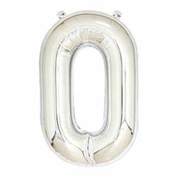 Stor Sifferballong i Silver för Födelsedag Fest 102cm - 0 silver