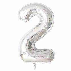 Stor Sifferballong i Silver för Födelsedag Fest 102cm - 2 silver