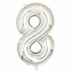 Stor Sifferballong i Silver för Födelsedag Fest 102cm - 8 silver