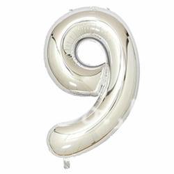 Stor Sifferballong i Silver för Födelsedag Fest 102cm - 9 silver