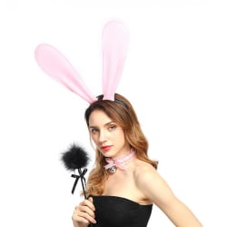 Stora Rosa Böjbara Kaninöron i Tyg Maskerad Utklädnad Bunny rosa