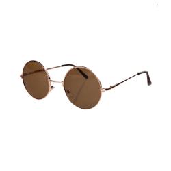 Stora Runda Solglasögon Retro Guld Brunt Glas brun