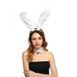 Stora Vita Böjbara Kaninöron i Tyg Maskerad Utklädnad Bunny vit