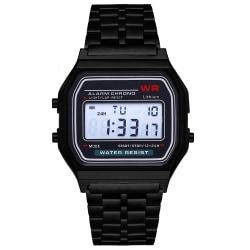 Svart Digital Vintage Retro Klocka Armbandsur Metall LCD svart