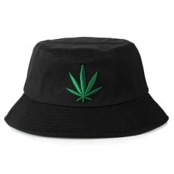 Svart Fiskehatt Bucket Hat Mössa Hatt Marijuanablad svart one size