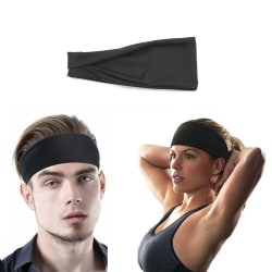 Svart Pannband för Sport Träning Gym Yoga svart