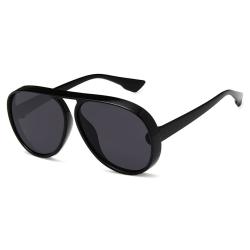 Svarta Aviator Pilot Solglasögon Mörkt Glas med Senilsnöre svart
