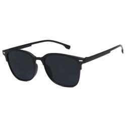Svarta Clubmaster Solglasögon Mörkt Glas med Senilsnöre svart