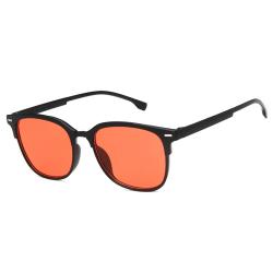Svarta Clubmaster Solglasögon Röda Glas med Senilsnöre svart