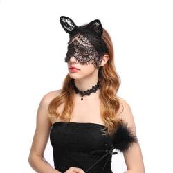 Svarta Ögonmask Ansiktsmask i Spets Lace Maskerad Mask Bunny svart