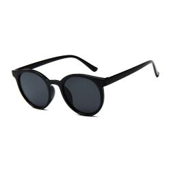 Svarta Retro Solglasögon Svart Glas med Senilsnöre svart