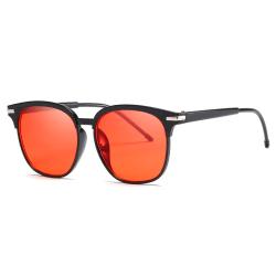 Svarta Runda Ovala Solglasögon Rött Glas med Senilsnöre svart