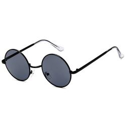 Svarta Runda Solglasögon Mörkt Glas med Senilsnöre svart