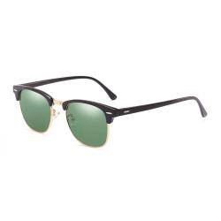 Svarta Solglasögon Clubmaster Grönt Glas med Senilsnöre svart