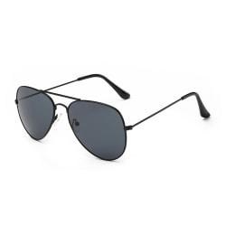 Svarta Solglasögon Pilot Avitator Svart Glas med Senilsnöre svart