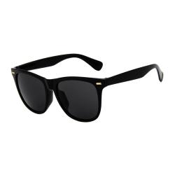 Svarta Solglasögon Stora Wayfarer Svart Glas med Senilsnöre svart