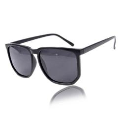 Svarta Stora Retro Solglasögon Svart Glas med Senilsnöre svart