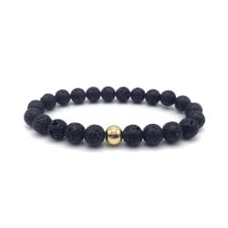 Trendigt Armband Svarta Lavastenar och Guld-pärla svart
