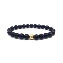 Trendigt Armband Svarta Stenar och Guld-pärla svart