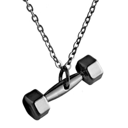 Trendigt Hantel Halsband Gunmetal Svart Kedja svart