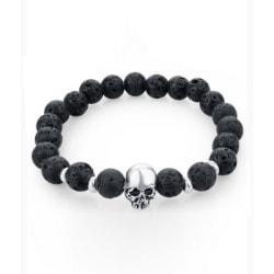 Trendigt Skull Dödskalle Armband Svarta Lavastenar svart