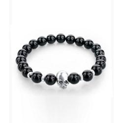 Trendigt Skull Dödskalle Armband Svarta Stenpärlor svart