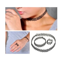 Trendigt Stretch Choker Set Ring, Armband och Halsband svart