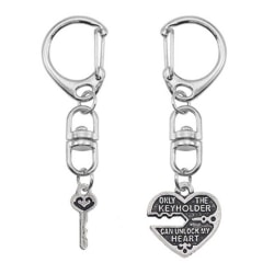 Tvådelad Nyckelring för Par - Unlock my Heart Silver silver