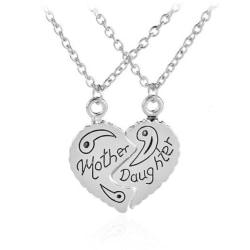Tvådelat Halsband Hjärta Mor och Dotter Mamma silver
