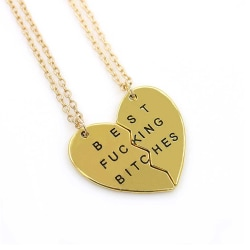 Vänskapshalsband för Kompisar Best Bitches/Friends Guld guld