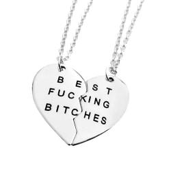 Vänskapshalsband för Kompisar Best Bitches/Friends Silver silver