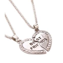 Vänskapshalsband för Kompisar Best Friends Silver Strass silver
