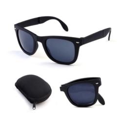 Vikbara Svarta Wayfarer Solglasögon med Senilsnöre svart
