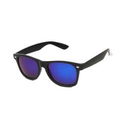 Wayfarer Solglasögon Svart Blått Spegelglas med Senilsnöre svart