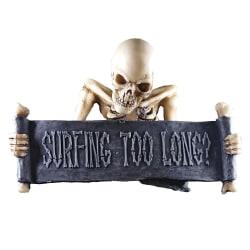Agora - Prydnad - Skelett med skylt: Surfing too long?