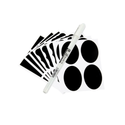 36 svarta tavlan-etiketter med 1 vit penna
