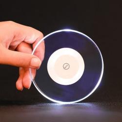 6st LED glasunderlägg coaster VIT disco