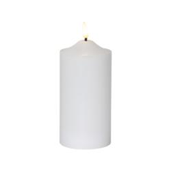 Vackert LED Blockljus i Vax, Flamme 17cm, vitt