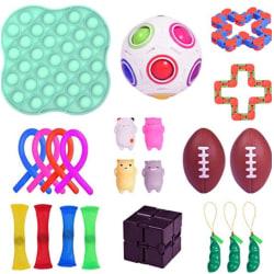 22st Fidget Toys pack festfavörer,sensoriskt pop it stressboll