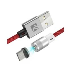 Laddkabel med magnetkontakt - Micro USB - 1m Röd