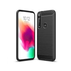 Motorola One Macro Mobilskal - Kolfiber design - Svart