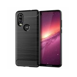 Motorola One Vision • Mobilskal • Kolfiber design • Svart
