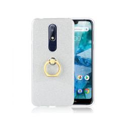 Nokia 7.1 Mobilskal - Glitter Powder - Vridbar hållare - Silver