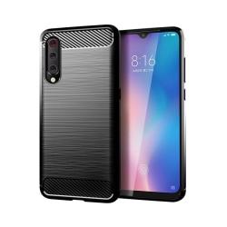 Xiaomi Mi 9 Lite • Mobilskal • Kolfiber design • Svart