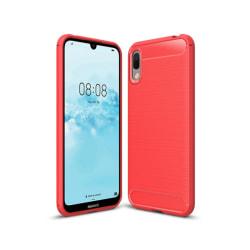 Y6 Pro 2019 Mobilskal - Kolfiber design - Röd